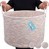 OrganiHaus XXL Large Rope Laundry Basket – Tastefully Appointed Extra Large Decorative Hamper, 100% Natural Cotton Storage Basket (Wide (20'x13.3'), Rainbow Stitches)