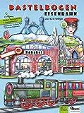 Eisenbahn Bastelbogen für Kinder 6+ Jahren zum Basteln aus Papier mit Bahnhof Brücke Zug Lokomotive und Tunnel Papiermodelle zum Spielen