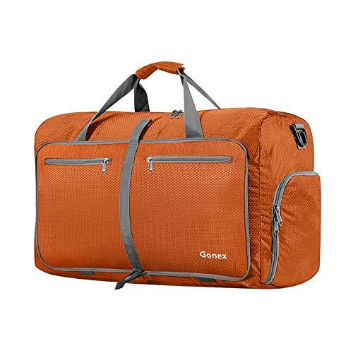 Gonex Leichter Faltbare Reise-Gepäck 40L, Farbe: Orange, Duffel Taschen Uebernachtung Taschen/Sporttasche für Reisen Sport Gym Urlaub