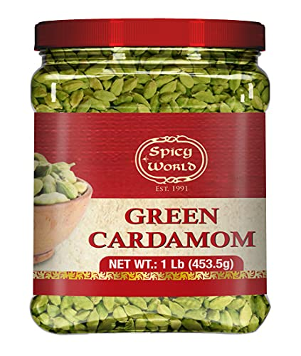 Spicy World Green Cardamom Pods 1 Pound Bulk Jar Pack - 16 Ounce - Natural Cardamon Spice