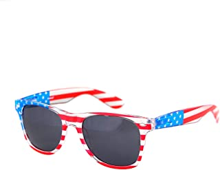 American America USA Flag Sunglasses Patriotic Clear Frame Classic 80s SHADERZ