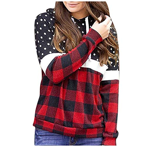 Forthery Fashion Women Hood Plaid Wave Point Splicing Long Sleeves Pullover Blouses Tops(Z)