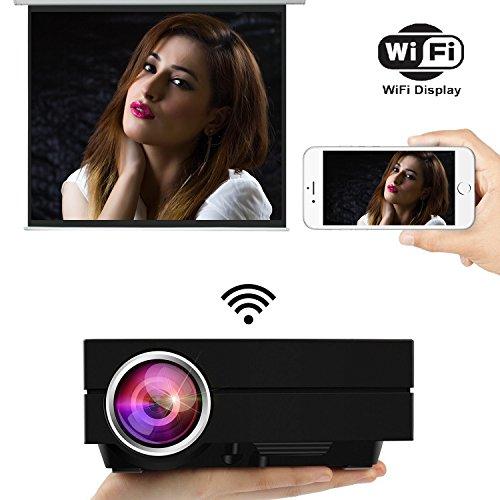 uvistar Beamer GM60/gm60a WiFi Projektor Mini Beamer LED 800* 480Projektor von 1000Lumen Multimedia für Spiele Video, TV, Movie Kino Private zu Hause Halterung USB/AV/SD/VGA/HDMI GM60A-NOIR