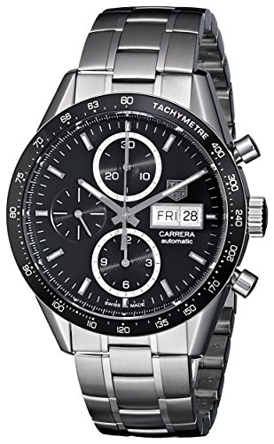 Tag Heuer Men's 'Carrera' Black Dial Stainless Steel Chronograph Watch CV201AG.BA0725