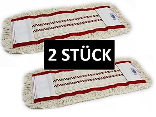 Gizmop 2 Stück 50 cm (Rot Gestreift) Wischmop aus 100{a3914cf3297716b7e2aa4e705cbfa246c25748102715c25958ea040336bcd2d5} Baumwolle Wischmopp - Parkett Baumwollmopp - Wischbezug zur Echtholz trocken und nass Bodenpflege - Bodenwischer für Parkett Dielen Laminat