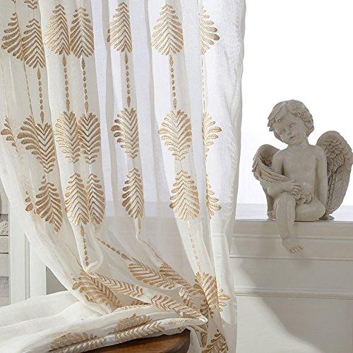 Rideaux et rideaux Sheer Curtains blanc d'or Brodé pour Traitements de fenêtre Produit fini Salon Haut à oeillets Un panneau , Blanc , 1pc(300*270 cm)