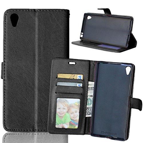 Capa para Sony Xperia Z5 Premium/Dual / Z5 Plus proteção de couro PU com 3 compartimentos para cartões capa flip (Preto)
