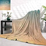 RenteriaDecor Sky,Horizon Illustration Scenic Natural Beauties Summer Season Inspired Peaceful, Petrol Blue Peach Wool Throws and Blankets for Sofa W54 x L72 Inch