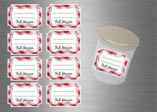 Akachafactory Lot d'etiquette Autocollant Sticker Confiture conserves Pots - Lot de 48