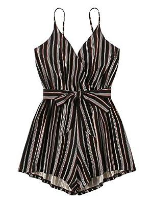 SweatyRocks Women's Sleeveless Striped Print V Neck Beach Shorts Romper Jumpsuit with Belt Black Grey L