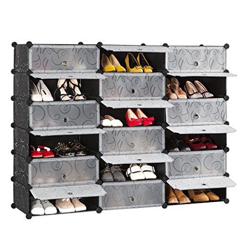LANGRIA Penderie Etagère à Chaussures Modulable DIY 18 Cubes, Meuble Rangement avec Modules en Plastique pour la SDB, Garage, Chambre, Salon, Noir et Blanc avec Motif Frisé