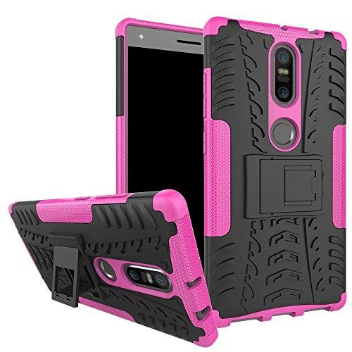 Sunrive Für Lenovo Phab 2 Plus, Hülle Tasche Schutzhülle Etui Hülle Cover Hybride Silikon Stoßfest Handyhülle Hüllen Zwei-Schichte Armor Design schlagfesten Ständer Slim Fall(rosa)