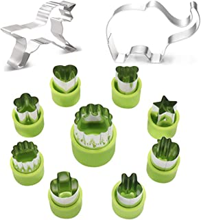Fruit Shape Cutters, Set of 11, Vegetable Shape Cookie Cutter with Unicorn Cookie Cutter and Elephant Cookie Cutter, for Making DIY Funny Decorative Fruit Cookie Cake for Kids