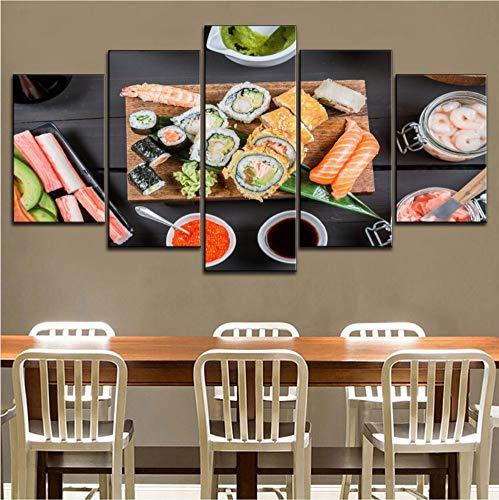 ycmjh 5 Kaviar und Sushi Teller Moderne Poster Küche Leinwand Malerei, Wohnkultur Wandkunst, Size2