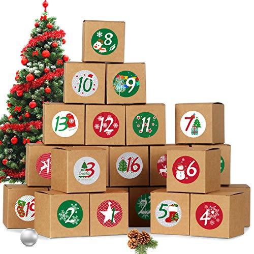 Bluelves Calendario Dell'avvento, 24 Avvento Calendario Avvento da Riempire, Scatole con 1-24 Adesivi Numerici, Calendario dell'Avvento Fai da Te Scatole Carta, Calendario avvento 2020 per Natale