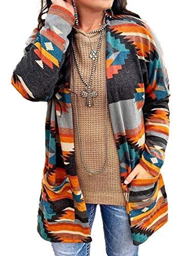 LOSRLY - Cardigan da donna alla moda, casual, a maniche lunghe, a blocchi di colore, leggero, con stampa etnica geometrica vintage tribale, taglie forti Multicolore L