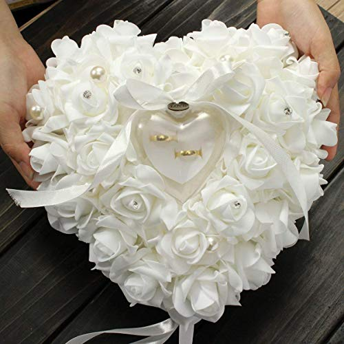 Yosoo Wedding Ring Pillow Heart Box With Ribbon Pearl Wedding Ceremony For Wedding Supplies Gift