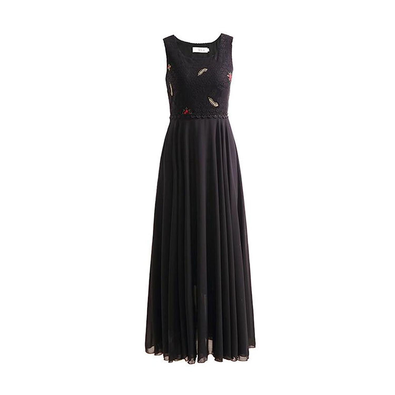 WYYY ドレス 夏の季節 ロングスカート ノースリーブ O襟 フラッシング スプライス ネット糸 ブラック セレブリティ シフォンドレス ビーチスカート (サイズ さいず : M)