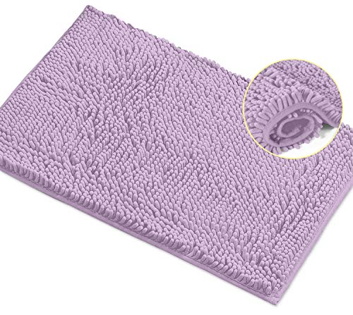 LuxUrux Bath Mat-Extra-Soft Plush Bath Shower Bathroom Rug,1'' Chenille Microfiber Material, Super Absorbent Shaggy Bath Rug. Machine Wash & Dry (20 x 30, Lavender)