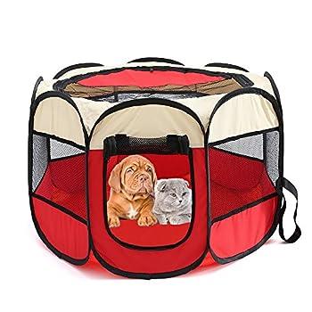 Tineer Portable Pet Cat Cage pour Chien Niche Chenil Tente Lit Parc d'enfant Camping de Plein air Pliable Maison de Caisse de Chien de Voyage Playpen (Medium: 90×90×60cm, Beige Rouge)