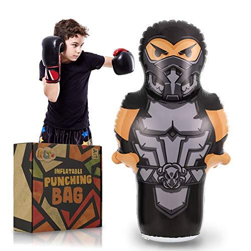 ZaxiDeel Inflatable Ninja Punching Bag 145CM, Standing Bounce Back Punching Boxing Bag for Kids - Premium Bop Bag for Energy Release, Practicing Karate, Taekwondo
