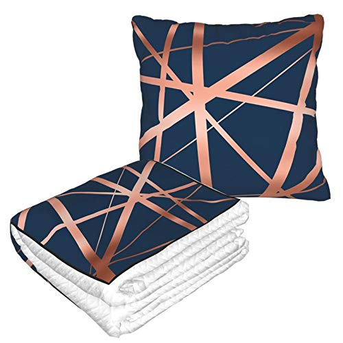 Travel Blanket and Pillow Premium Soft 2 in 1 Airplane Blanket,Navy And Copper Luxe with Soft Bag Pillowcase, For sofa Camping car Traveling