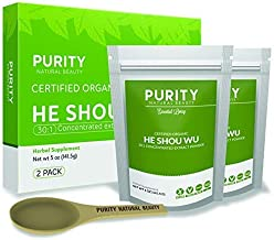 Certified Organic He Shou Wu - Pack of 2 Large 5oz Bags of 30:1 Concentrated Organic Fo Ti Powder Plus Free Bamboo Spoon