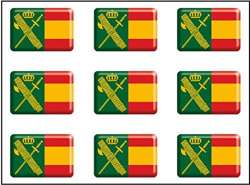 Artimagen Pegatina rectángulos Bandera con Logo Guardia Civil 9 uds. Resina 16x11 mm/ud.