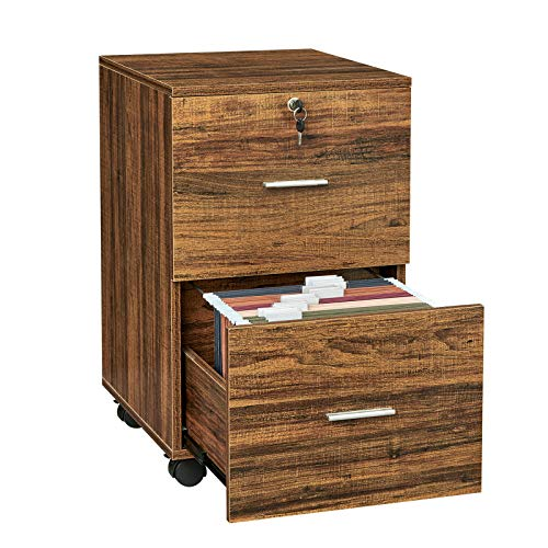 GreenForest 2 Drawer File Cabinet Wooden Vertical Filing Cabinet with Lock and Wheels for A4 or Letter Size Hanging File Folders, Walnut