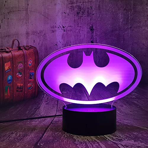 DC Justice League Batman Symbol Night Light The Dark Knight Desk Table Lamp 7 Color Change Flashlight Kids Toys Christmas Gift Birthday Present(Batman Logo)