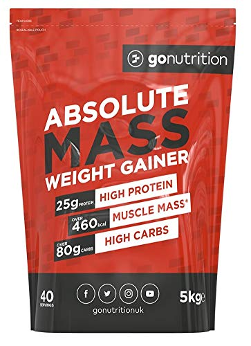Absolute Mass 5kg Lean Weight Gainer Protein Powder Shake UK Made High Calorie Mass Gain Supplement (Strawberry)