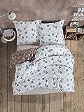 Biancheria da letto 200 x 220 cm, in 100% cotone turco, set da 3 pezzi – 1 copripiumino 200 x 220 cm e 2 federe 80 x 80 cm, morbido e comodo, qualità premium