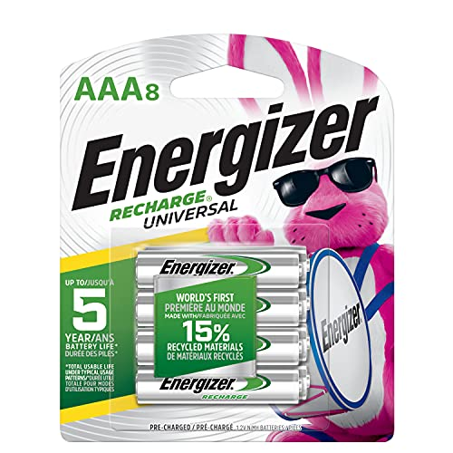 Energizer Rechargeable AAA Batteries, 700 mAh NiMH, Pre-charged, Chargeable for 1,000 Cycles, 8...