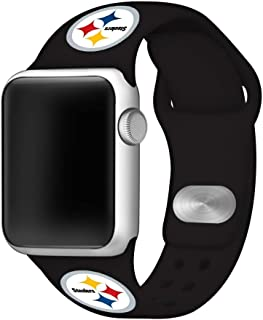 Game Time Pittsburgh Steelers Silicone Sport Band Compatible with Apple Watch - Band ONLY (38mm/40mm Black)