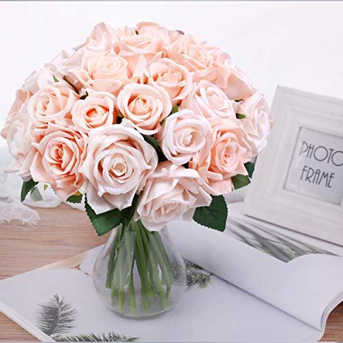 Pauwer Künstliche Deko Blumen Gefälschte Blumen Seidenrosen Plastik 2 Pcs 18 Köpfe Braut Hochzeitsblumenstrauß für Haus Garten Party Blumenschmuck (Süßes Rosa, 2 PCS)