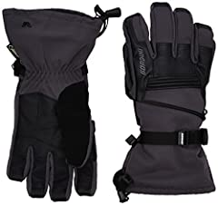 Breathable stretch woven shell with genuine goatskin accents; textured palm for enhanced grip; leash Waterproof, windproof, and breathable Gore-Tex insert Megaloft synthetic insulation; moisture-wicking lining Zippered handwarmer pocket Gauntlet cuff...