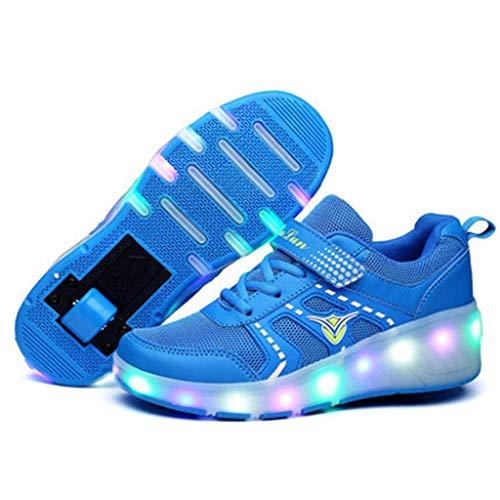 IDE Play Unisex Kinder Rollschuh Schuhe Removable Werden Turnschuhe Arbeiten Trainer Led Schuhe für Jungen-Mädchen-Einzel Räder Schuhe Outdoor-Sportschuhe,Blau,32