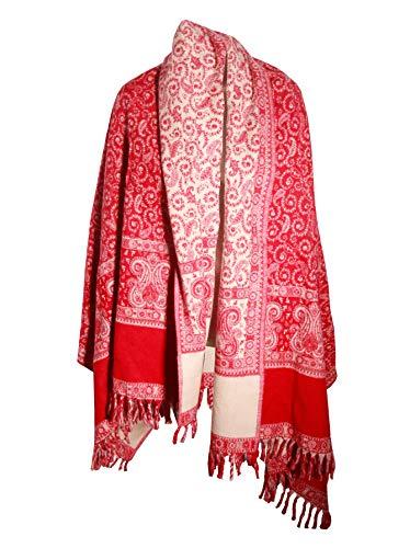 Lussuosa coperta a scialle in lana di Yak, realizzata a mano, colore rosso, beige, per uso su entrambi i lati.