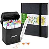 Ohuhu 40 Colors Alcohol Art Markers (Fine & Chisel, Bonus 1 Colorless Blender) + 6.9' × 6.5' Mini PU Marker Pads Art Sketchbook, 120LB/200GSM Heavy Smooth Drawing Papers, 30 Sheets/60 Pages