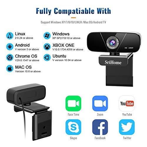 Faneam HD 1080P Webcam con Micrófono USB Web CAM Streaming Cámara para Conferencias Videollamadas Gaming, Compatible con Windows/Android/Linux/WebEx/Youtube/FaceTime,Plug and Play miniatura