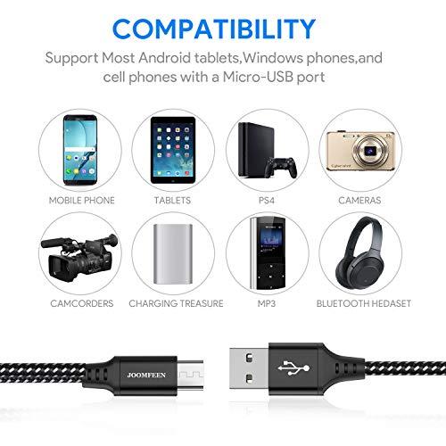 JOOMFEEN Micro USB Kabe,[4-Pack 1M] Nylon 2.4A USB Cable geflochtenes High Speed Sync Und Datenkable Ladekabel für Android Smartphone, Samsung, Huawei, Nexus, HTC, Motorola, Xbox(Schwarz)