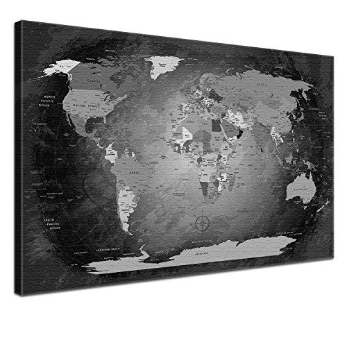 LanaKK Mapamundi con Corcho para Fijar los destinos - Mapa del Mundo Blanco y Negro, inglés, lámina sobre Bastidor Camilla en Negro, Enmarcado en una Parte de 120 x 80 cm