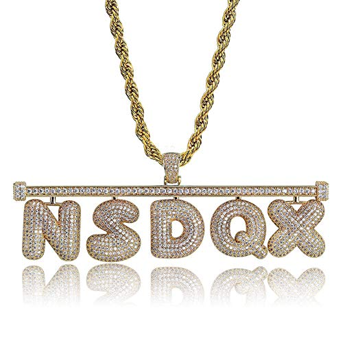 Fashion Verstelbare Custom Name Bevroren Uit Bubble Ket Hangers Kettingen Men's Charms AAA Cubic Zircon Hip Hop Jewelry