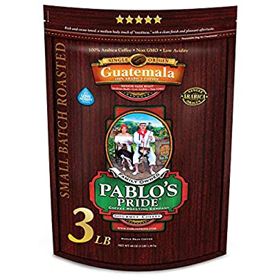 3LB Pablo's Pride Guatemala - Medium-Dark Roast - Whole Bean Coffee - Low Acidity - 3 Pound (3 lb) Bag
