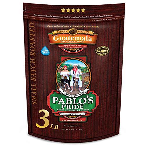 3LB Pablo's Pride Guatemala - Medium-Dark Roast - Whole Bean Coffee - Low Acidity - 3 Pound (3 lb) Bag