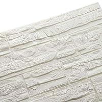 Doremy 3D立体不規則なウォールステッカー 軽量ブリックタイル調壁紙シート DIY防水防音 自己粘着60*60CM (24枚入, ホワイト)