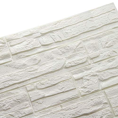 Doremy 3D Brick Textured Pattern Wall Panels Wallpaper Self-Adhesive PE Foam Waterproof Modern Style for Living Room Bedroom Kitchen Wall Covering Background Decoration 12PCS=46.5SQ.FT(12PCS, White)