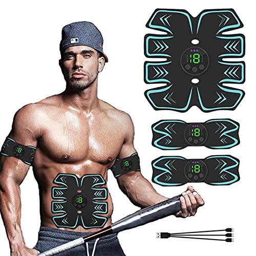 GoodWell Electroestimulador Muscular Abdominales, Masajeador Eléctrico Cinturón con USB, Entrenador Inalámbrico Portátil...