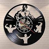 BFMBCHDJ Bodybuilding Clock Personnalisé À La Main Disque Vinyle Horloge Bodybuilder Chambre Décoratif Bodybuilder Horloge Murale Gym Décor
