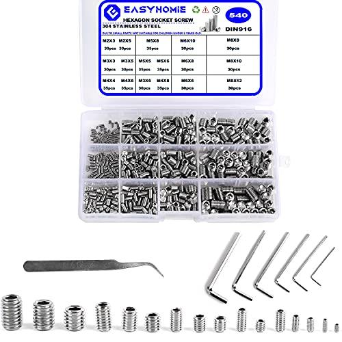 540 tornillos prisioneros de acero inoxidable, M2/3/4/5/6/8, tornillos de cabeza hexagonal con 6 llaves para fijación de piezas de máquinas.